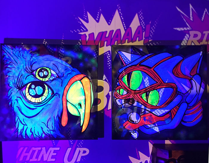 Black light art with projector