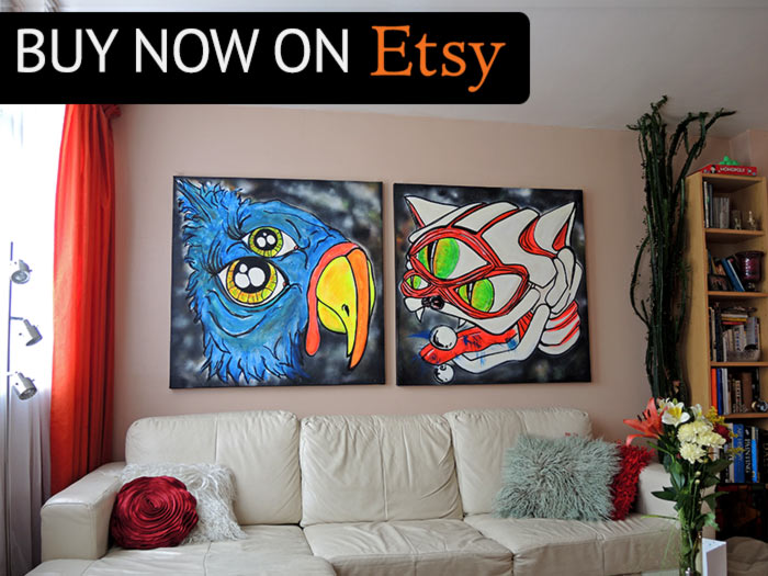 Buy black light art canvas decor on Etsy