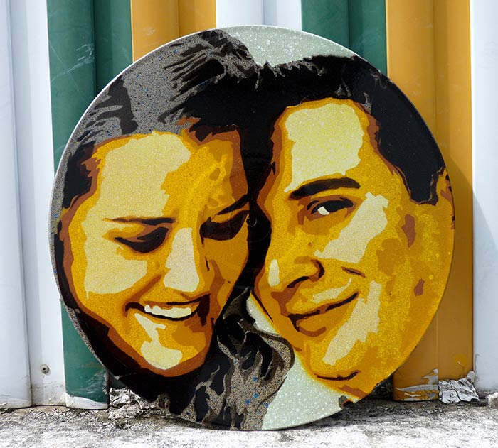 stencil art portrait of a couple on vinyl
