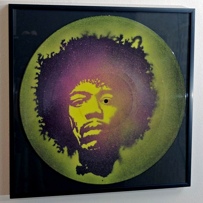 Jimi Hendrix portrait on vinyl