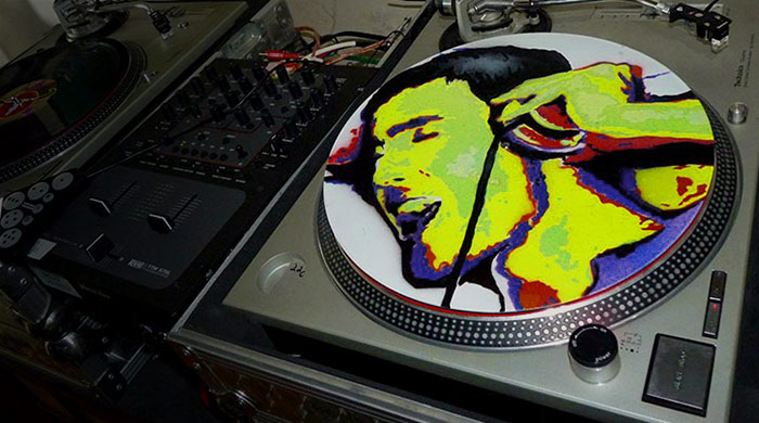 stencil art vinyl on turntables