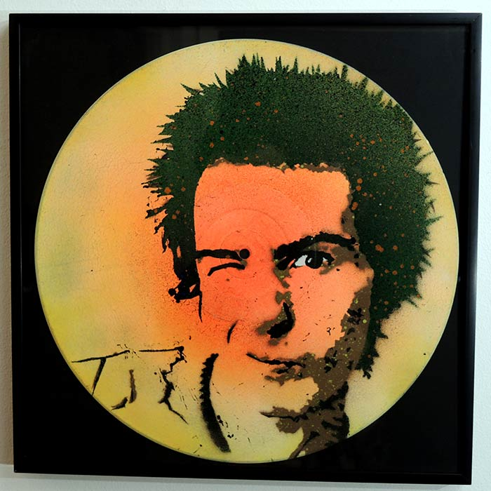 sid vicious stencil portrait on vinyl