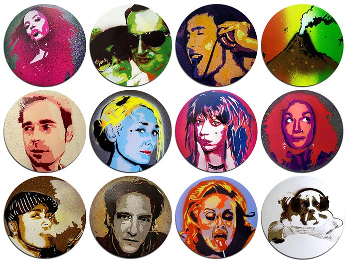 portrait stencils on vinyl records