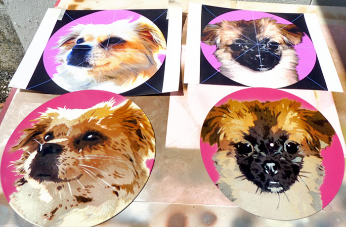 stencil art pet portraits on vinyl