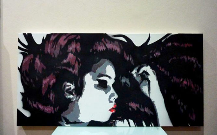 stencil art portrait on canvas