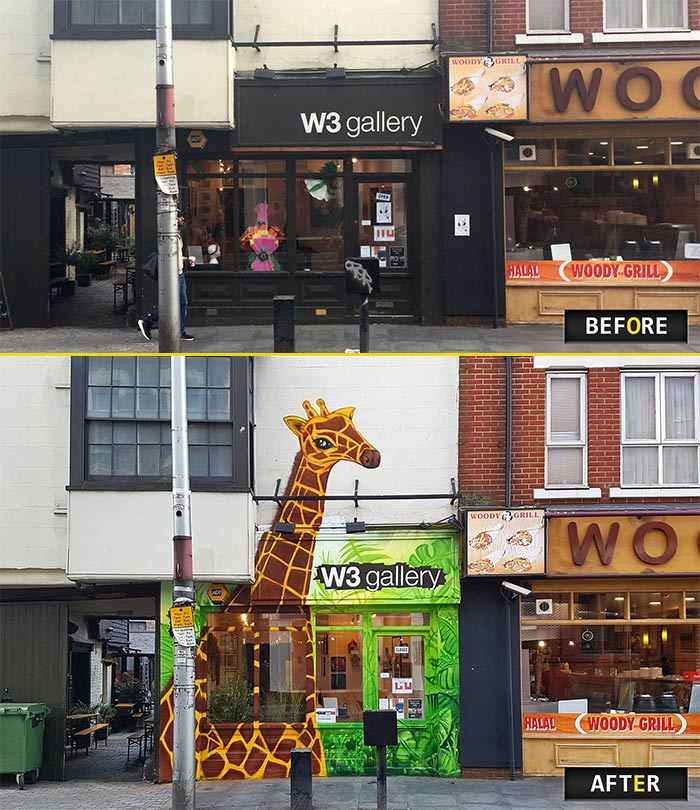 before and after photo of jungle graffiti mural of a giraffe