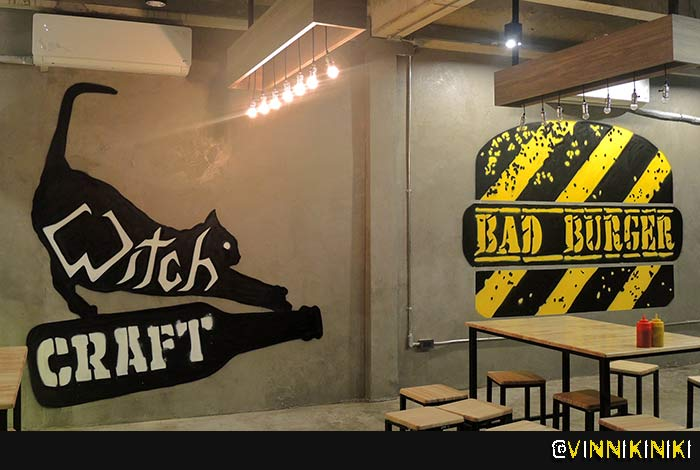 Logo based graffiti mural Bangkok Bar Burger