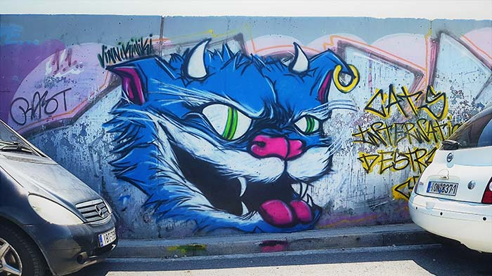 Devil cat graffiti Athens 2018