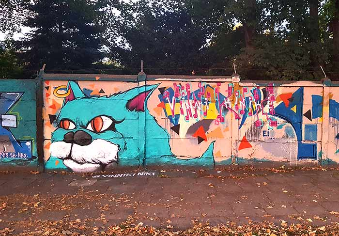 photo of a large cat street art mural in warsaw Poland by vinni kiniki