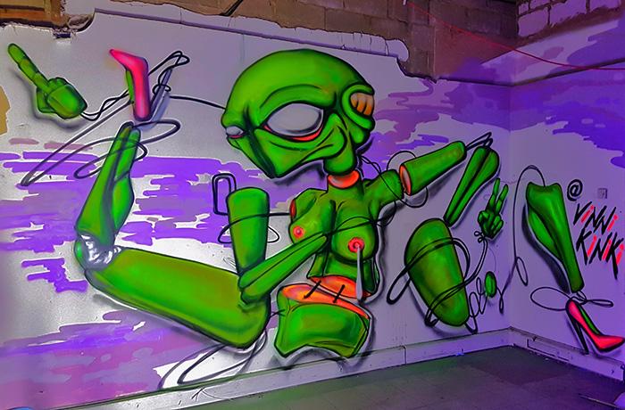alien sex doll A.I. black light graffiti