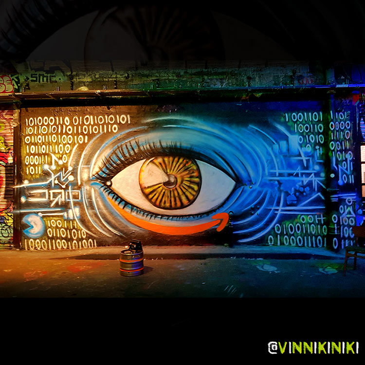 Graffiti art mural of an eye painted for Panorama