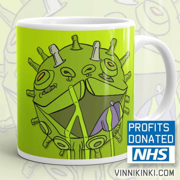 Corona virus puppy coffee mug by vinni kiniki charity donation