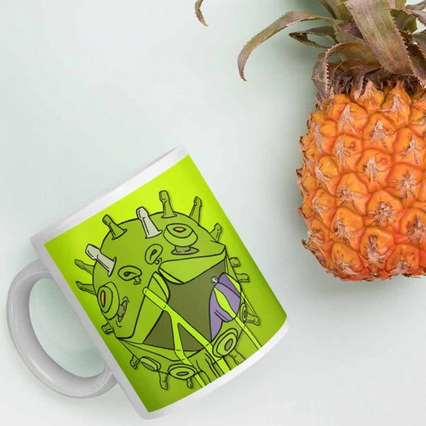 Corona virus coffee mug and pineapple photo