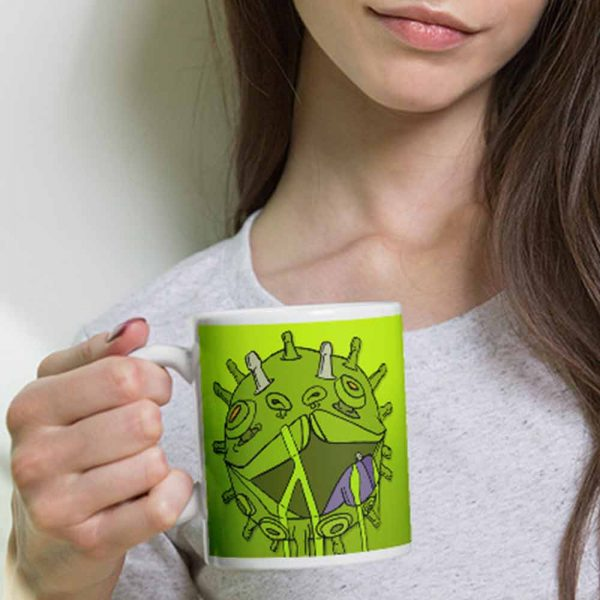 Corona virus coffee mug held by woman