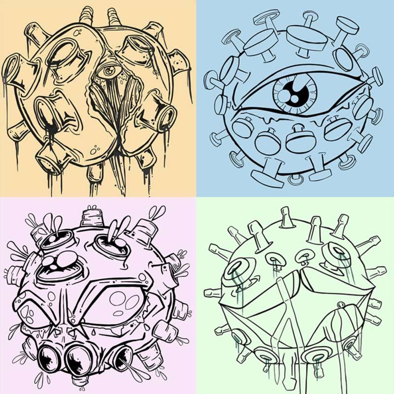 coronavirus illustration outlines by Vinni Kiniki