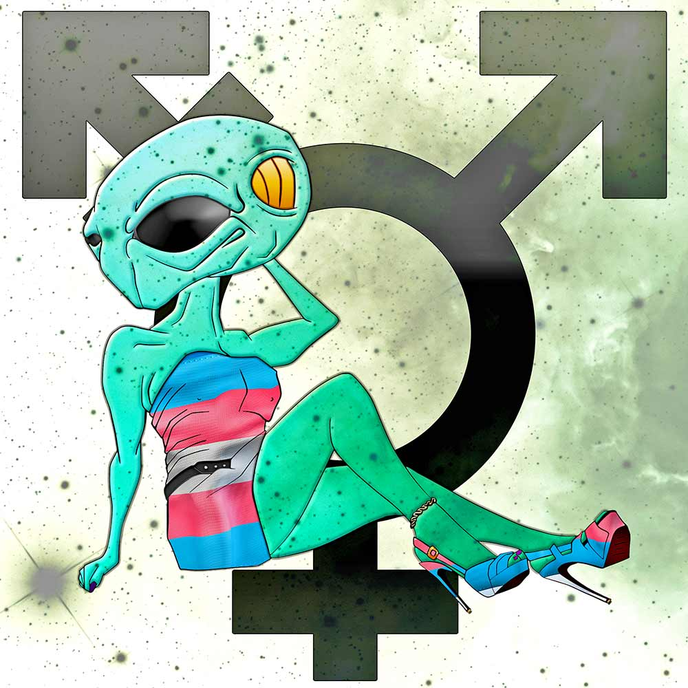 transgender symbol alien illustration