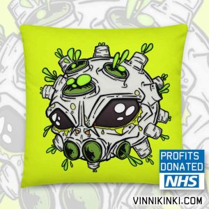 neon yellow alien virus print cushion