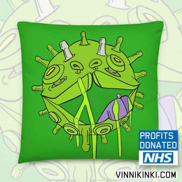 Coronavirus inspired print on green pillow the Covid Puppy Cushion