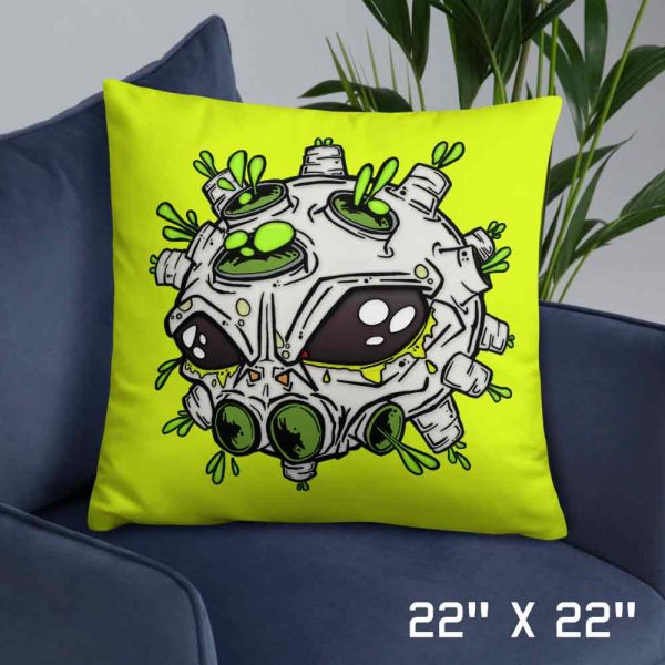 Large neon yellow alien virus cushion
