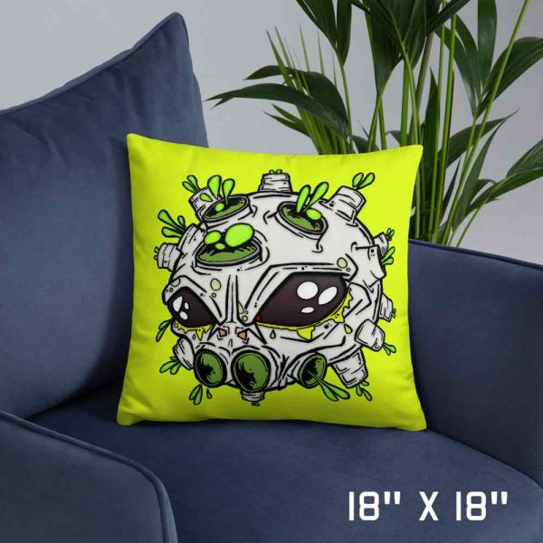 medium neon yellow alien virus sofa cushion