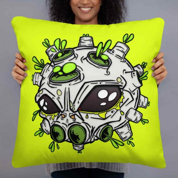 neon yellow alien virus print cushion by Vinni Kiniki