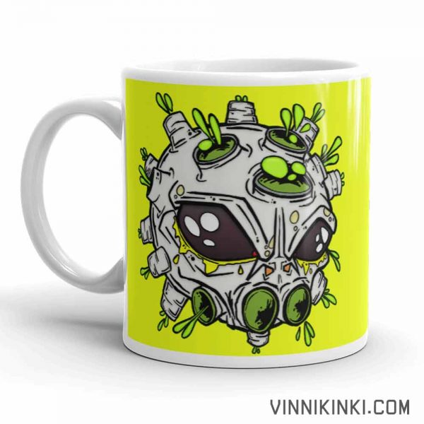 Alien virus conspiracy coffee cup handle pointing left