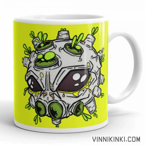 Alien virus conspiracy coffee cup handle pointing right