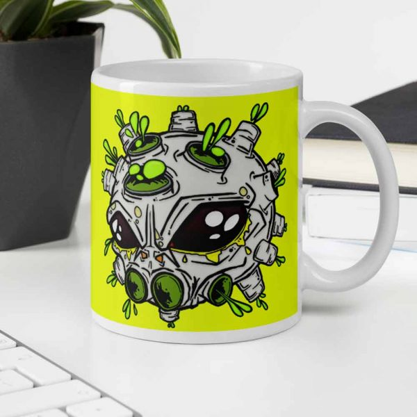 Alien virus conspiracy coffee cup in the office