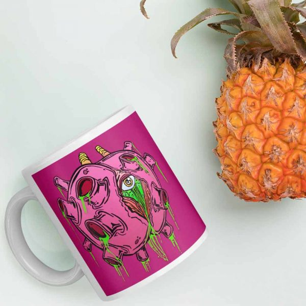 zombie virus coffee mug and pineapple