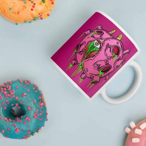 zombie virus coffee mug and doughnuts
