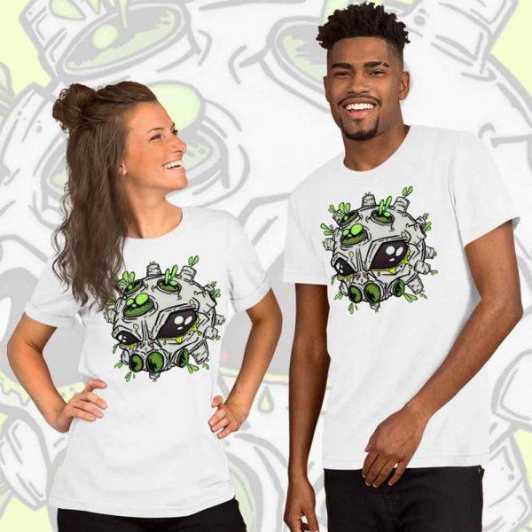 couple wearing matching alien virus t-shirt