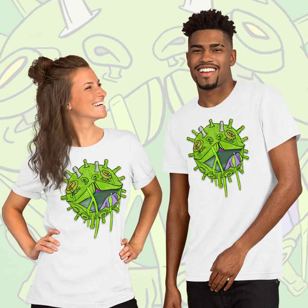 Couple wearing Covid puppy t-shirt