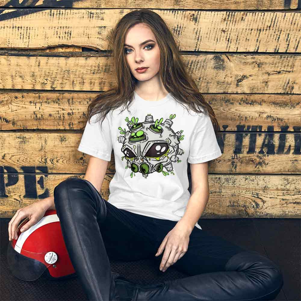 lady wearing alien virus t-shirt