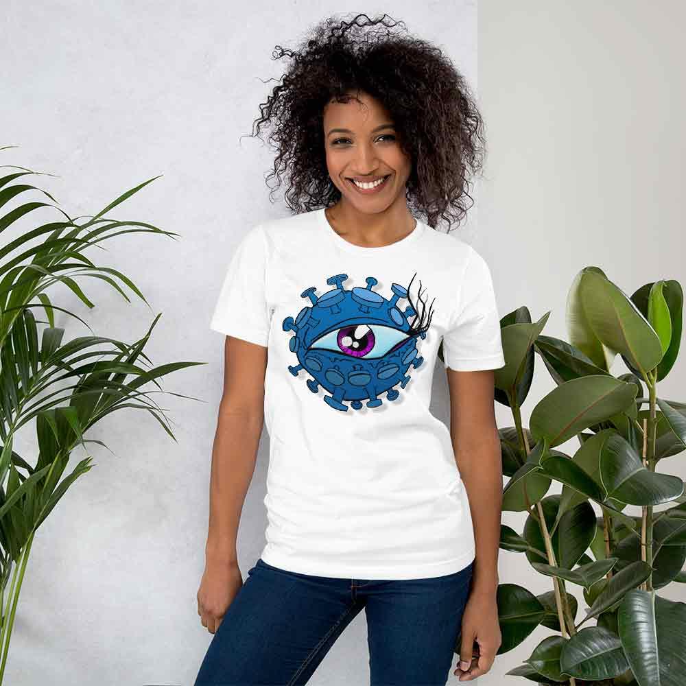 lady wearing corona virus inspired viral eyeball t-shirt