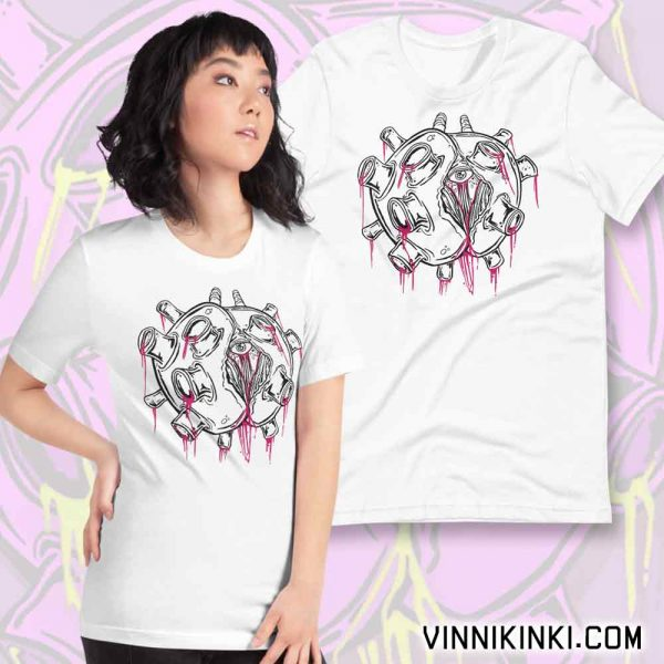 lady wearing zombie virus t-shirt