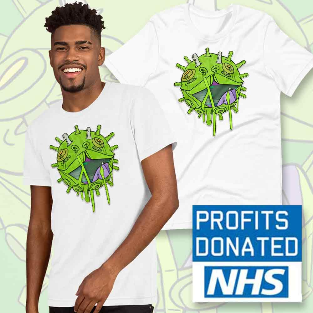 man wearing viral glitch t-shirt