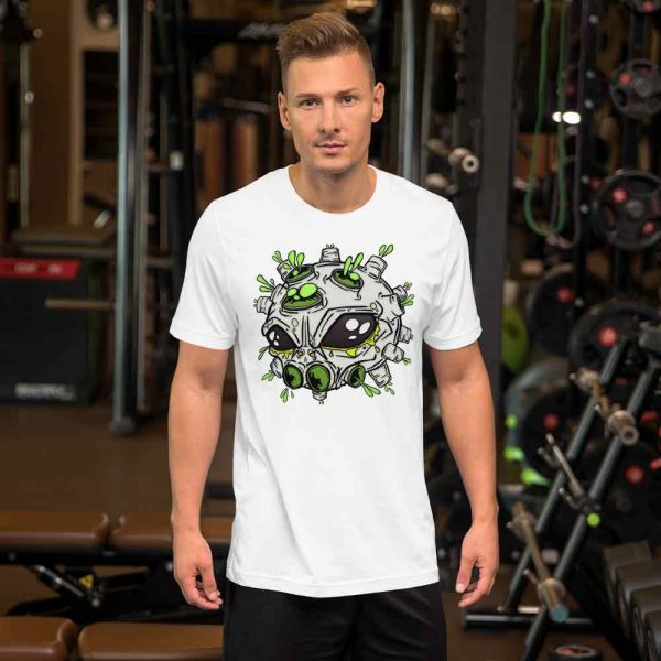 man wearing alien virus t-shirt