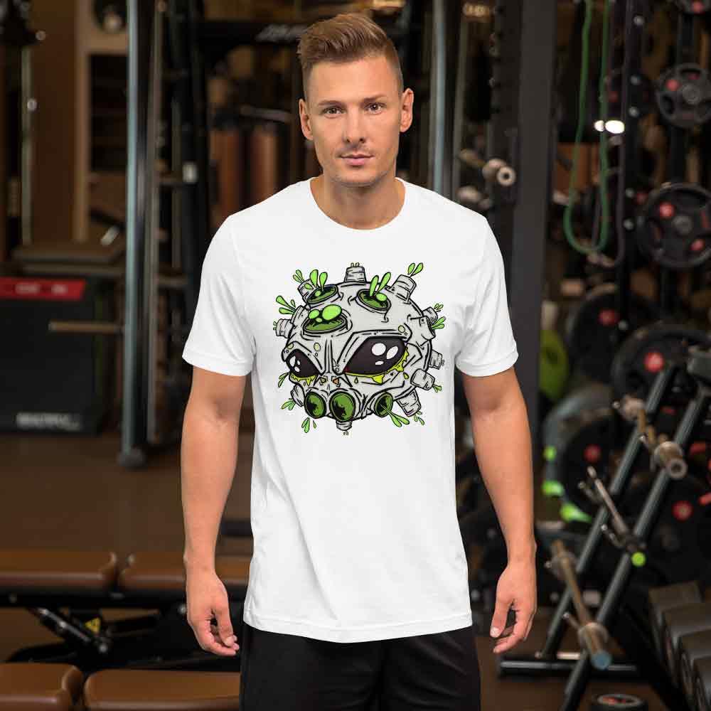 man wearing alien virus t-shirt