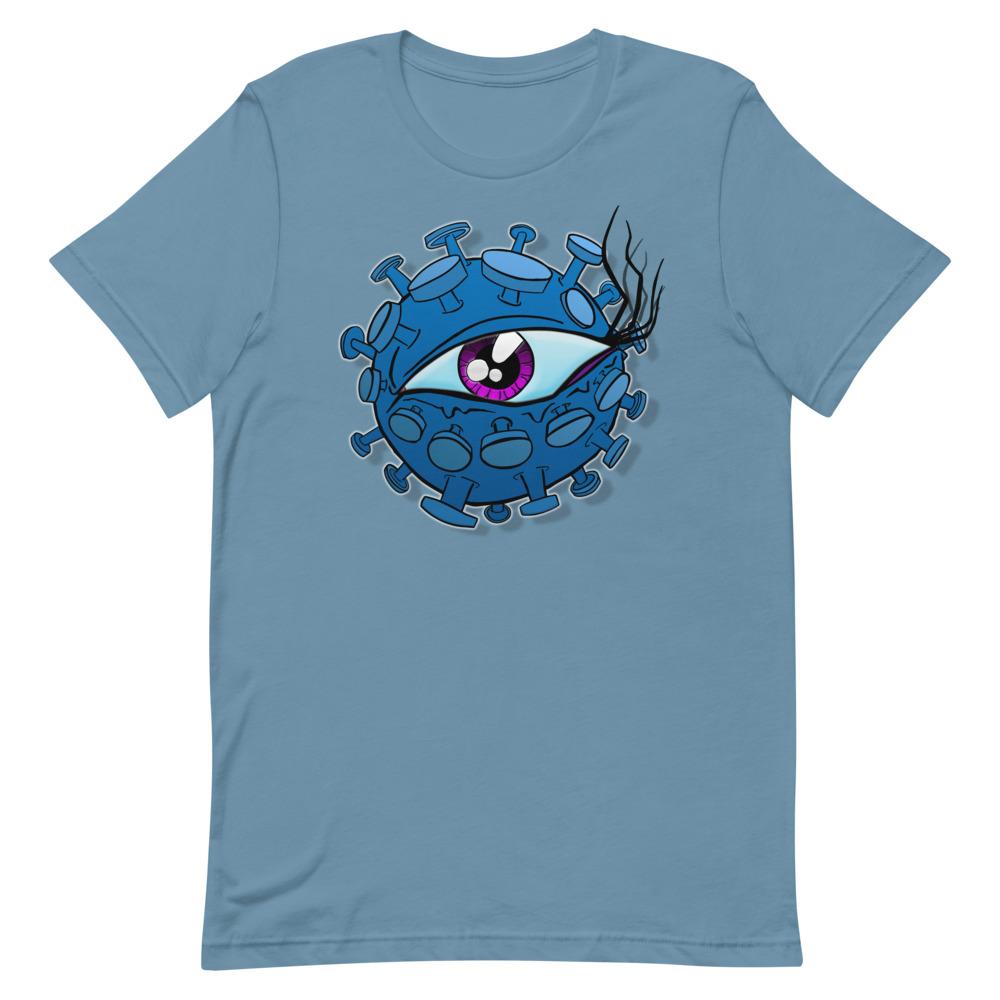 light blue viral eyeball coronavirus inspired T-shirt