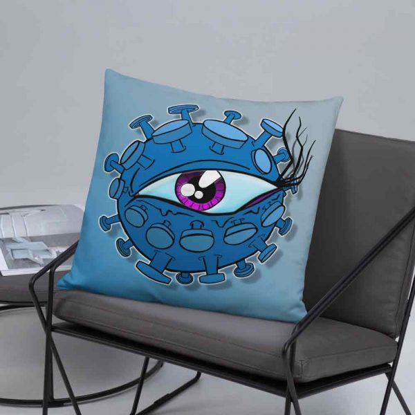 Viral Eyeball cushion on a chair