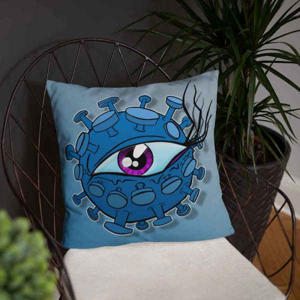 Large blue cushion with eyeball virus print