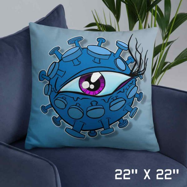 Large virus eyeball cushion on sofa