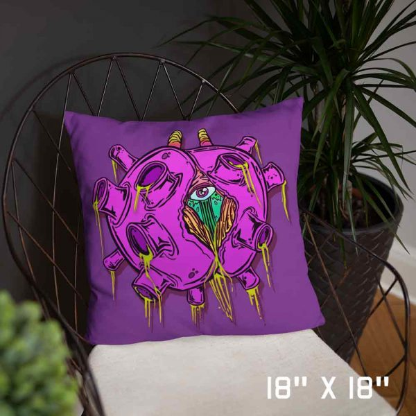 purple pink pillow zombie virus mdeium 18 x 18 inch