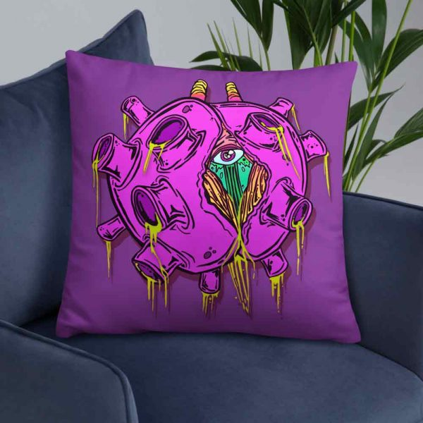 Coronavirus inspired purple zombie virus pillow