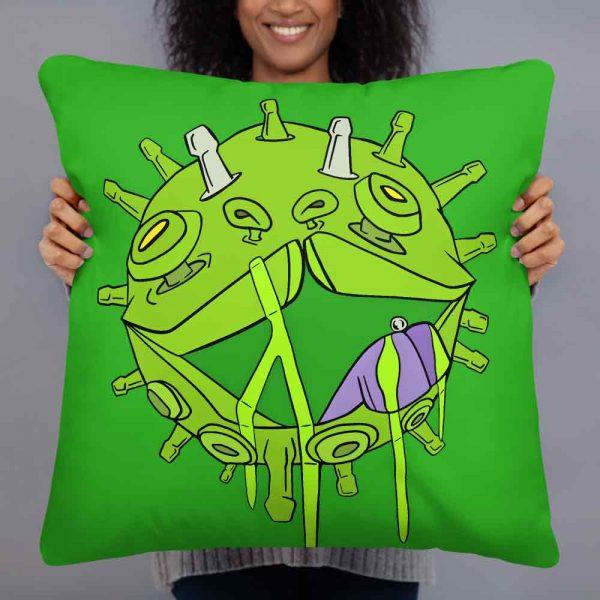 The Covid Puppy Coronavirus inspired art print on green cushion