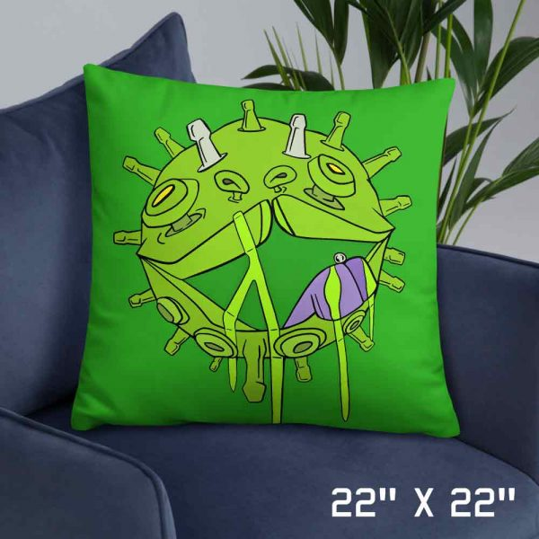 Coronavirus inspired art print on green pillow 22 x 22 large