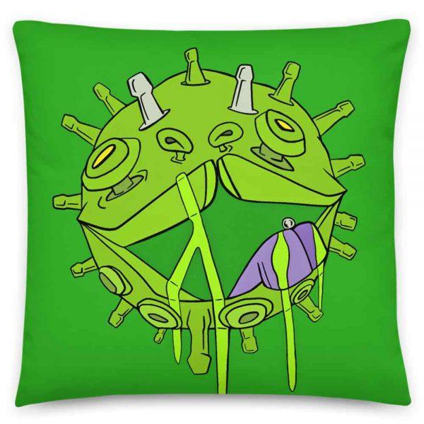 The Covid Puppy Coronavirus inspired art print on green pillow NHS Charity donation
