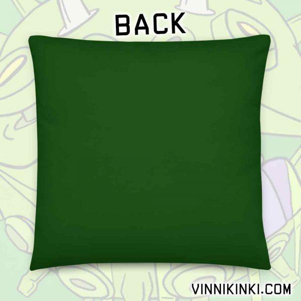 Coronavirus inspired art print on green pillow back of cushion