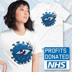 corona virus inspired viral eyeball ladies t-shirt
