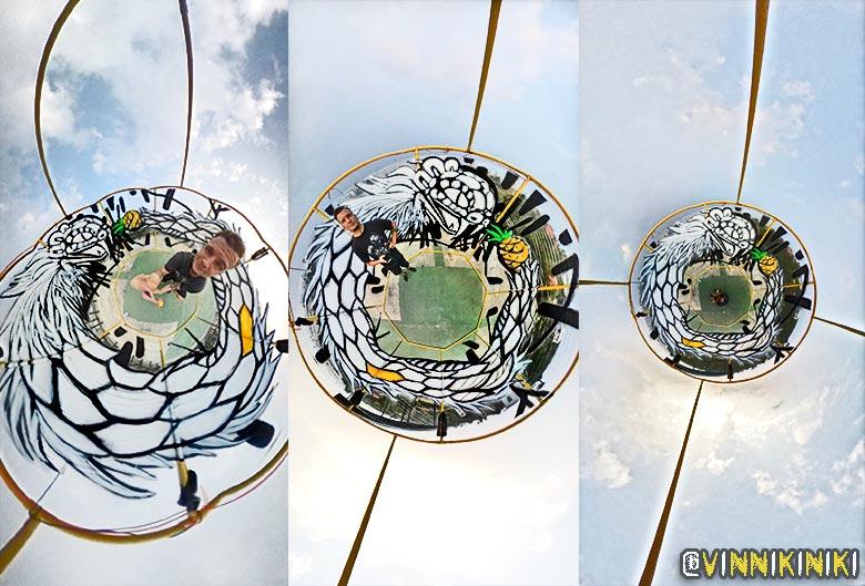 purpose built 360 cellograff art installation ouroboros graffiti mural by vinni kiniki